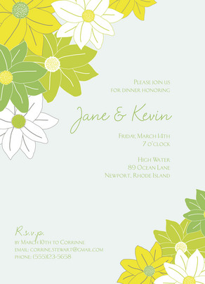 Green Flowers Invite 5x7 Flat Card
