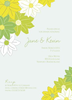 Green Flowers Invite 5x7 Flat Card