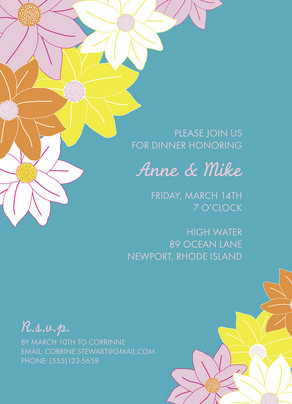 Teal Flowers Invite 5x7 Flat Card