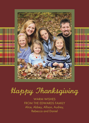 Cranberry Tartan Thanksgiving 5x7 Flat Card