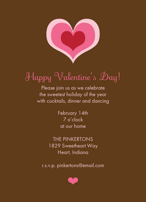 Chocolate Pink Hearts 5x7 Flat Card
