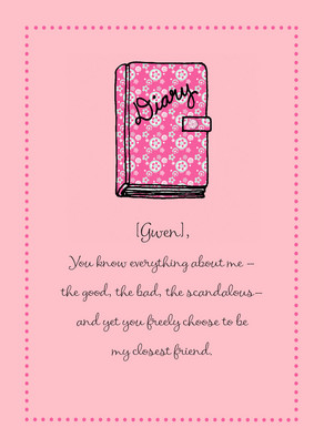 Pink Diary 5x7 Folded Card