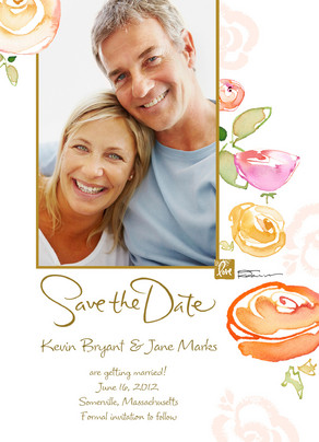 Rose Save the Date 5x7 Flat Card