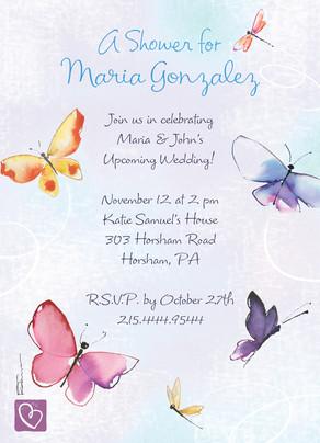 Watercolor Butterfly Shower 5x7 Flat Card
