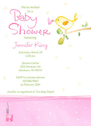 Yellow Bird Baby Shower 5x7 Flat Card