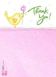 Yellow Bird Thanks 3.75x5.25 Folded Card