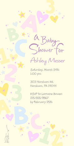 Alphabet Baby Shower 4x8 Flat Card
