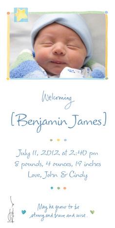 Star Baby Announcement 4x8 Flat Card