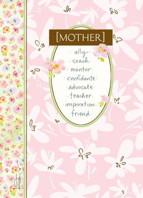 Mother Flower Border 5x7 Folded Card