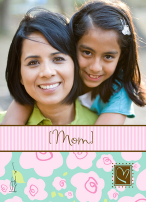 Pink Stripe Mom 5x7 Folded Card