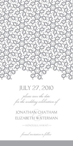 Gray Lace White 4x8 Flat Card