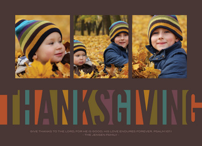 Block Thanksgiving 7x5 Flat Card