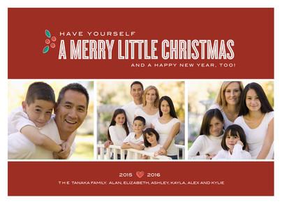 Holly Little Christmas 7x5 Flat Card