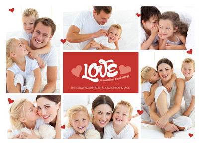 Six Photo Love 7x5 Flat Card