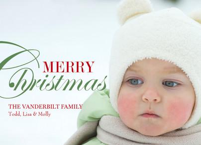 Merry Christmas Overlay 7x5 Flat Card
