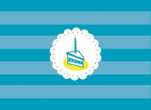 Aqua Birthday Cake 5.25x3.75 Folded Card