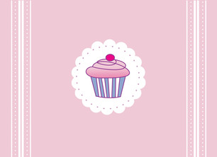 Pale Pink Cupcake 5.25x3.75 Folded Card