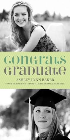 Green Congrats Grad 4x8 Flat Card