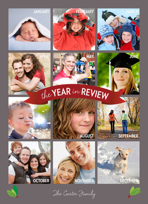 Gray Vertical Year in Review 5x7 Flat Card