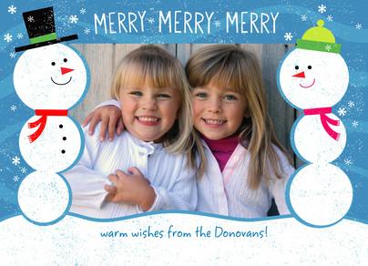 Smiling Snowmen Postcard 7x5 Postcard