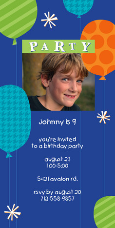 Blue Balloons Party 4x8 Flat Card