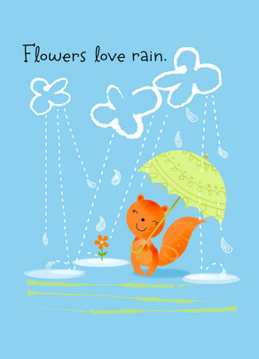 Flowers Love Rain 5x7 Folded Card