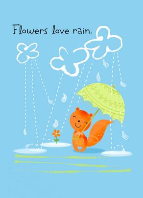 Flowers Love Rain 5x7 Folded Card