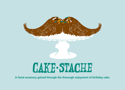 Mustache Cake Stand 7x5 Folded Card