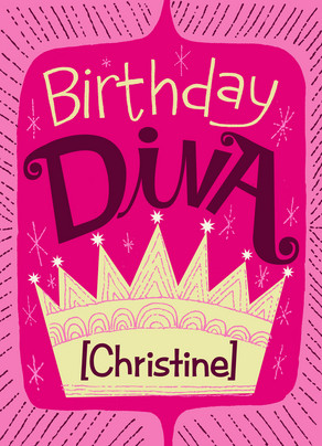 Birthday Diva 5x7 Folded Card