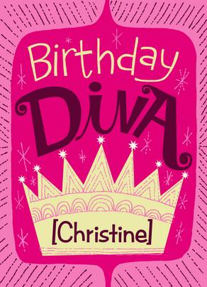 Birthday Diva 5x7 Folded Card