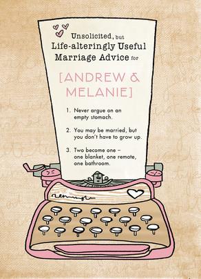 Typewritten Marriage Advice 5x7 Folded Card