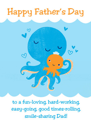 Octopus Dad 5x7 Folded Card