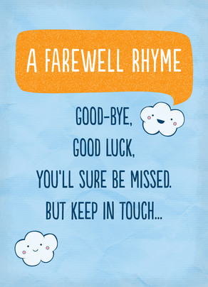 Farewell Rhyme 5x7 Folded Card