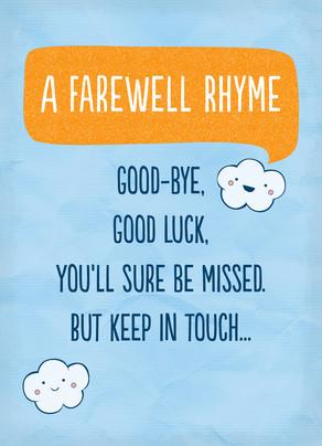 Farewell Rhyme 5x7 Folded Card
