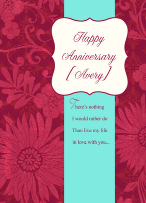 Magenta Anniversary 5x7 Folded Card