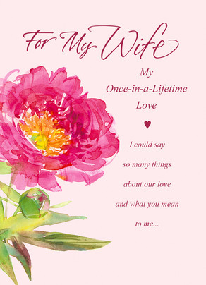 Pink flower wife happy anniversary card cardstore pink flower wife 5x7 folded card m4hsunfo