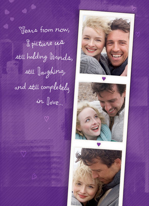 Purple Photo Strip 5x7 Folded Card