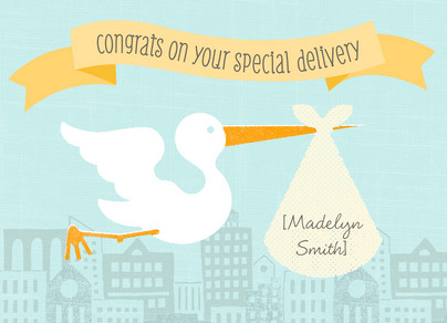 Stork Special Delivery 7x5 Folded Card
