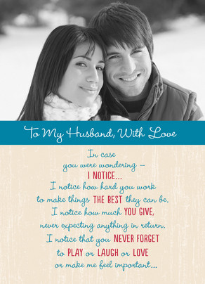 Husband with Love 5x7 Folded Card