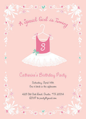 Ballerina Birthday 5x7 Flat Card