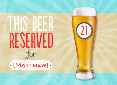 Reserved Birthday Beer 7x5 Folded Card
