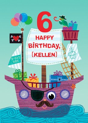Pirate Ship Birthday 5x7 Folded Card
