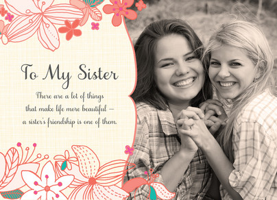 Flower Sister Frame Happy Birthday Card Cardstore