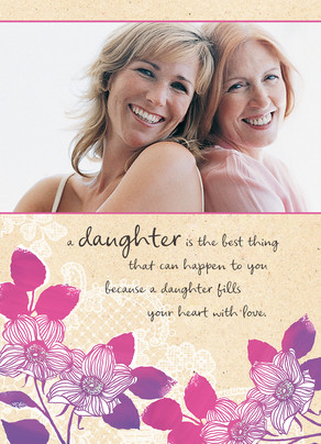 Flower Daughter Frame Happy Birthday Card