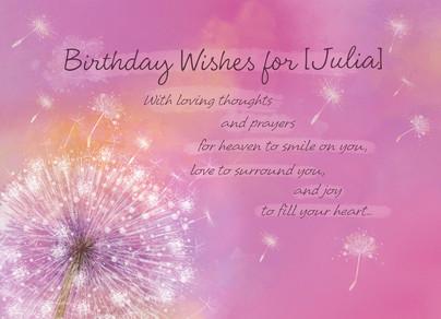 Dandelion Birthday Wish 7x5 Folded Card