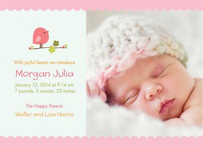 Pink Baby Bird 7x5 Flat Card