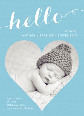 Blue Hello 5x7 Flat Card