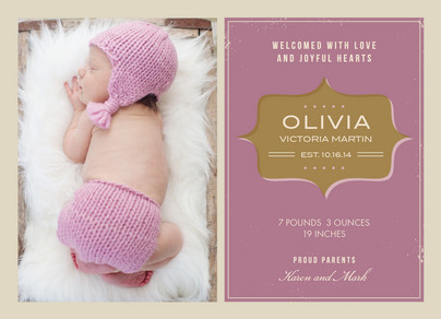 Pink Vintage Baby 7x5 Flat Card