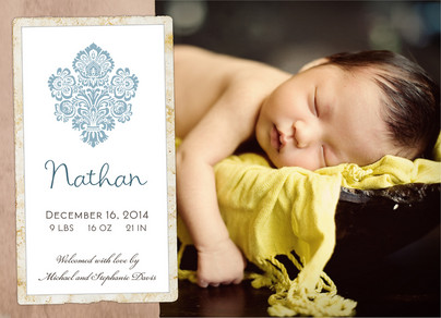 Boy Damask Photo 7x5 Flat Card