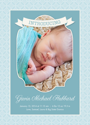 Introducing Baby Boy 5x7 Flat Card